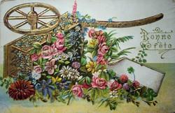 Antik domború aranyozott virágos francia  üdvözlőlap