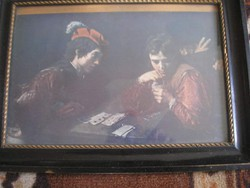 N11 A hamis játékos Michel Angelo de Caravaggio üveglapos 36X27 cm antik keretben Kártyaszalonba is.