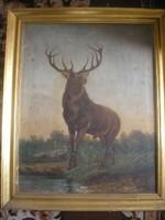 N11 Gímszarvas kapitális bika IS jelzéssel  olaj vászon antik festmény 76 X 63 cm csere is lehet