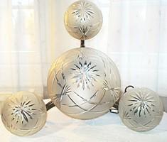 Antik bronz csillár, csiszolt üveg búrákkal