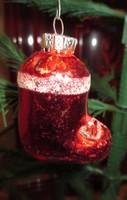 Régi üveg karácsonyfadísz mikulás csizma