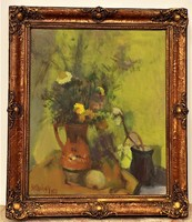 Szilvásy Margit (1898-1977) Csendélet c. Képcsarnokos olajfestménye EREDETI Garanciával !!!