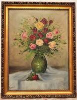 Erdélyi Sándor virágcsendélet olajfestménye 1930 körüli 92x72cm EREDETI Garanciával !!!