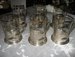 Teáskészlet - alpakka - Régi cizellált, aranyozott  3 deciliteres poharakkal