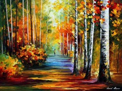 Leonid Afremov: Forest road 2