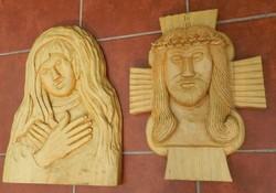 HÚSVÉTI AKCIÓ !!! EXTRA NAGY JÉZUS ÉS SZŰZ MÁRIA FALI FAFARAGÁS -jelzett