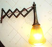 Antik harmónika (ollórácsos) bronz falilámpa