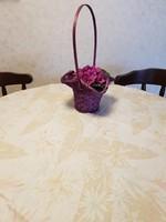 Virágos vászon terítő, abrosz 160x120 cm