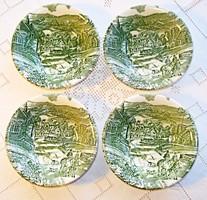 4 db angol salátás tál, vadászjelenetet ábrázoló mintával