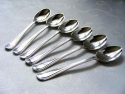 Elegáns hat darabos, vastagon ezüstözött, jelzett, mokkáskanál, gyönyörű, szinte újszerű állapotban