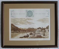 """LEÁRAZTAM! Szép keretben Gaal Domokos """"Buda 1845."""" c. rézkarc ingyen postával"""