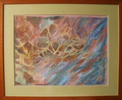 """LEÁRAZTAM! Illényi Tamara """"Vízesés"""" c. különleges selyemfestménye gyűjteményből, ingyen postázással"""