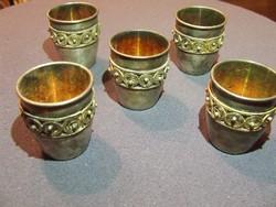 Ritka antik orosz aranyozott-ezüstözött kupica ,kupa,pohár,5db