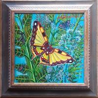 Galambos Tamás - Sárga pillangó 30 x 30 cm olaj, vászon keretezve