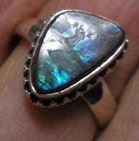 925 ezüst gyűrű 18,8/59,03 mm ammolittal