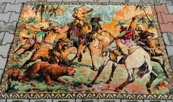 LEÁRAZTAM !!! Monumentális antik mokett faliszőttes - faliszőnyeg : Vadászat -