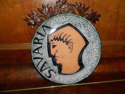 SAVARIA - nagyméretű iparművészeti fali kerámia tál