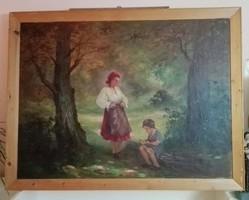 Daday Gerő: Szamócát szedő kislány anyjával (nagyméretű)