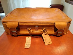 Retró utazó bőrönd, utazótáska, sárga