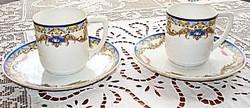 2 DB Victoria porcelán mokkás csésze, aljjal