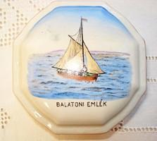 Zsolnay, kézzel festett, nyolcszögletű doboz Balaton dekorral
