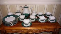 Zsolnay 8 személyes zöld pompadúr kávés készlet+8 tányér