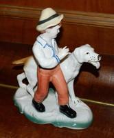MOST ÜNNEPI ÁRON ! Kisfiú kutyával - jelzett porcelán szobor