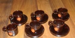 Kovács Éva art deco kerámia kávés csésze készlet