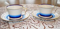 Art deco, meisseni porcelán teás csészék, csészealjjal