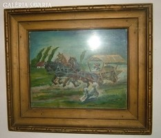 LEÁRAZTAM ! Antik jelzett olaj /fa festmény: kutya kergette kocsi