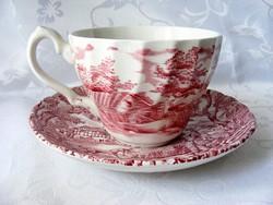 Myott, vadász jelenetes, teás szett, 3 csésze, 3 tányér, csorbulásmentes, vörös dekoros, régi, angol