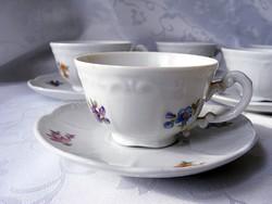 Szépséges, ritka, antik, Zsolnay mokkás, kávés készlet, klasszikus virágos dekorral hibátlan darabok