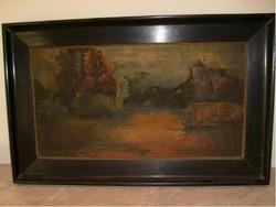 E 10 Munkácsy stílusú antik olajfestmény 90x56 cm RITKASÁG