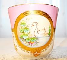 Szecessziós, kézzel festett porcelán mokkás csésze