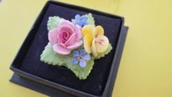 Aynsley Fine English Bone China porcelán virág bross, kitűző
