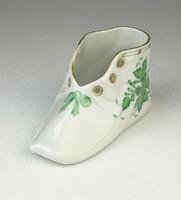 0Q397 Zöld Apponyi mintás Herendi porcelán kiscipő