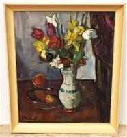 P . Bak János (1913-1981) Virágcsendélet c. képcsarnokos olajfestménye EREDETI GARANCIÁVAL