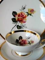 Különleges rózsás porcelán reggeliző 3-as szett, csésze kistányér