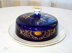 Nagy méretű kobaltkék, kézzel festett, fedeles vajtartó vagy sajttartó