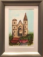 Romtemplom Zsámbék akvarell 10.5cm x 15.5cm
