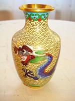 Sárkányokkal díszített, régi keleti tűzzománc váza