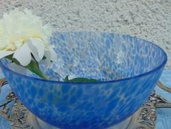Álomszép kék foltos régi üvegtál
