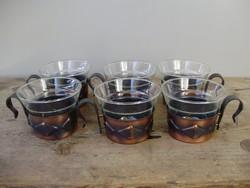 Ritka retro vörösréz,jénai üveg kávés,capuccinos készlet Hiánytalan!