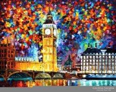 LONDON, ANGLIA, BIG BEN KÜLÖNLEGES NAGY EREDETI szignált FESTMÉNY, RITKA LÁTVÁNYOS AJÁNDÉK