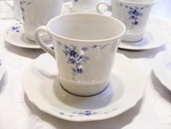 Bavaria porcelán teás vagy cappuccino-s készlet, elegáns kék mintával,6 személyes hibátlan garnitúra