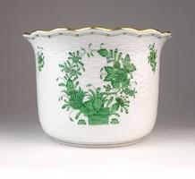0Q410 Zöld indiai kosaras Herendi porcelán kaspó