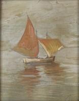 0Q238 Ismeretlen művész : Vitorlás a nyílt vízen