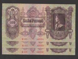 100 pengő 1930.  3 db sorszámkövető!!   UNC!!