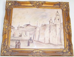 MÉSZÁROS MIHÁLY (1901 – 1982) Betlehem jelzett, pasztell papír kerettel együtt 63 cm X 52 cm jelzett