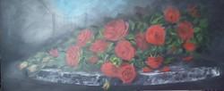 Piros rózsák a kerti asztalon c.  festmény,  csendélet